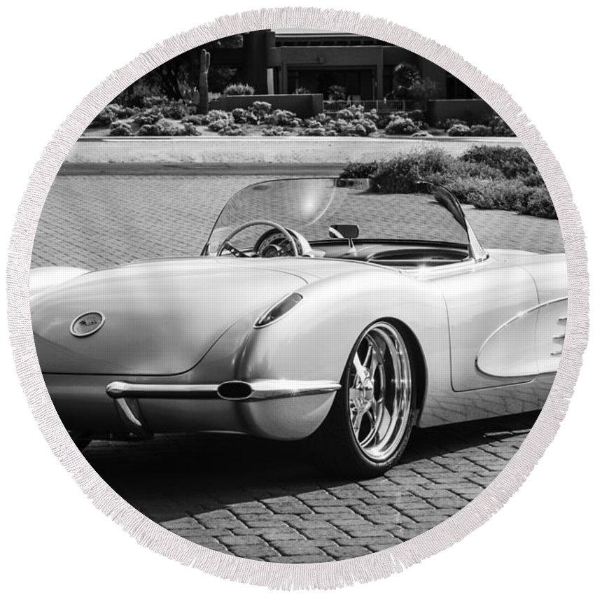 1960 Chevrolet Corvette Round Beach Towel featuring the photograph 1960 Chevrolet Corvette -0880bw by Jill Reger