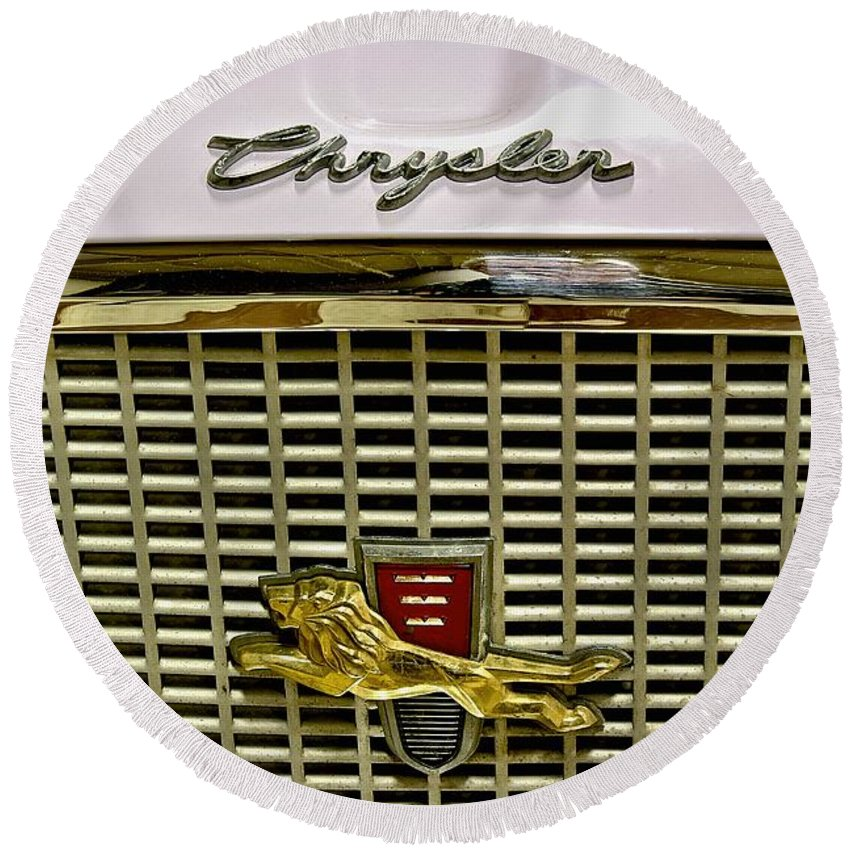 1960 Round Beach Towel featuring the photograph 1960 Chrysler Windsor Hood Grill by Michael Gordon