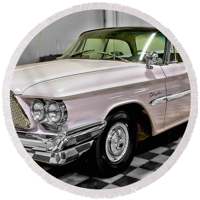 1960 Round Beach Towel featuring the photograph 1960 Chrysler Windsor by Michael Gordon