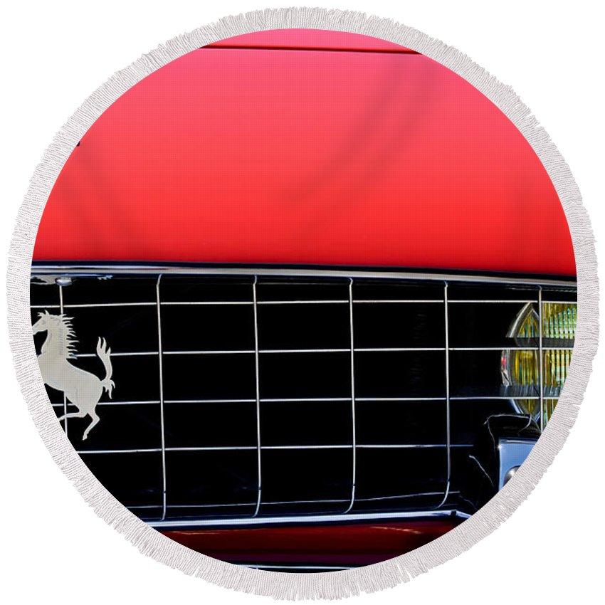1960 Ferrari 250 Gt Cabriolet Pininfarina Series Ii Grille Emblem Round Beach Towel featuring the photograph 1960 Ferrari 250 Gt Cabriolet Pininfarina Series II Grille Emblem by Jill Reger