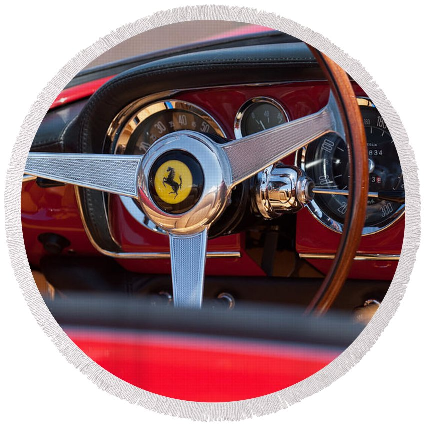 1960 Ferrari 250 Gt Cabriolet Pininfarina Series Ii Steering Wheel Emblem Round Beach Towel featuring the photograph 1960 Ferrari 250 Gt Cabriolet Pininfarina Series II Steering Wheel Emblem by Jill Reger