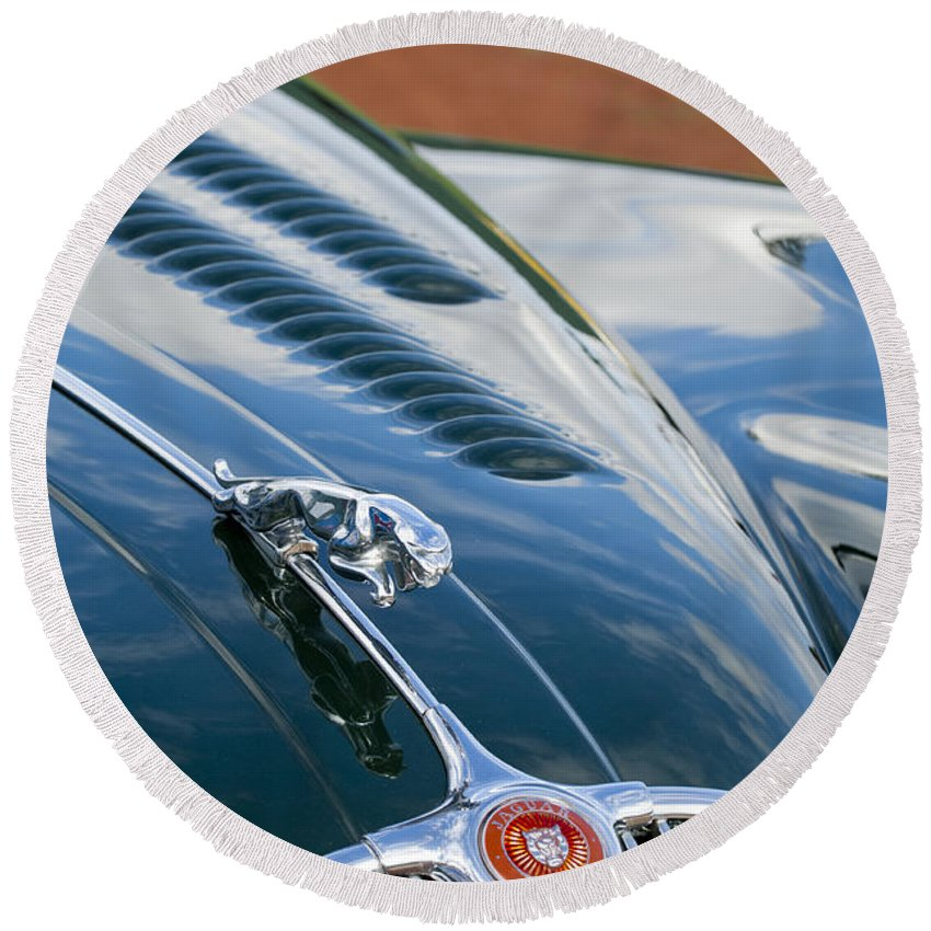 1960 Jaguar Xk 150s Fhc Round Beach Towel featuring the photograph 1960 Jaguar Xk 150s Fhc Hood Ornament 3 by Jill Reger