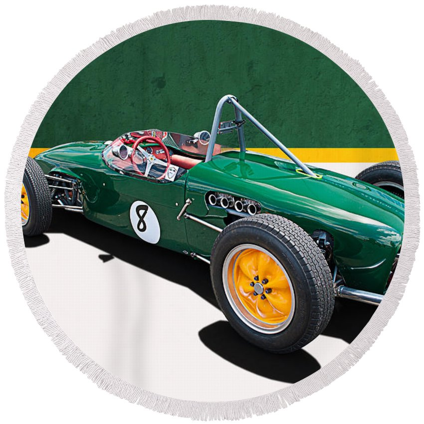 Lotus Round Beach Towel featuring the photograph 1960 Lotus 18 Fj by Stuart Row