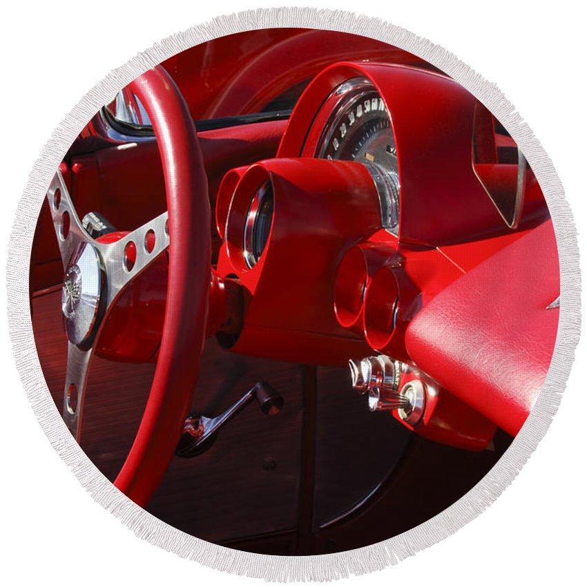 1961 Chevrolet Corvette Round Beach Towel featuring the photograph 1961 Chevrolet Corvette Steering Wheel by Jill Reger