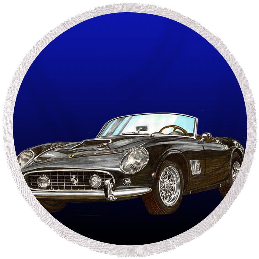 1961 Ferrari 250 Gt California Round Beach Towel featuring the painting 1961 Ferrari 250 G T California by Jack Pumphrey