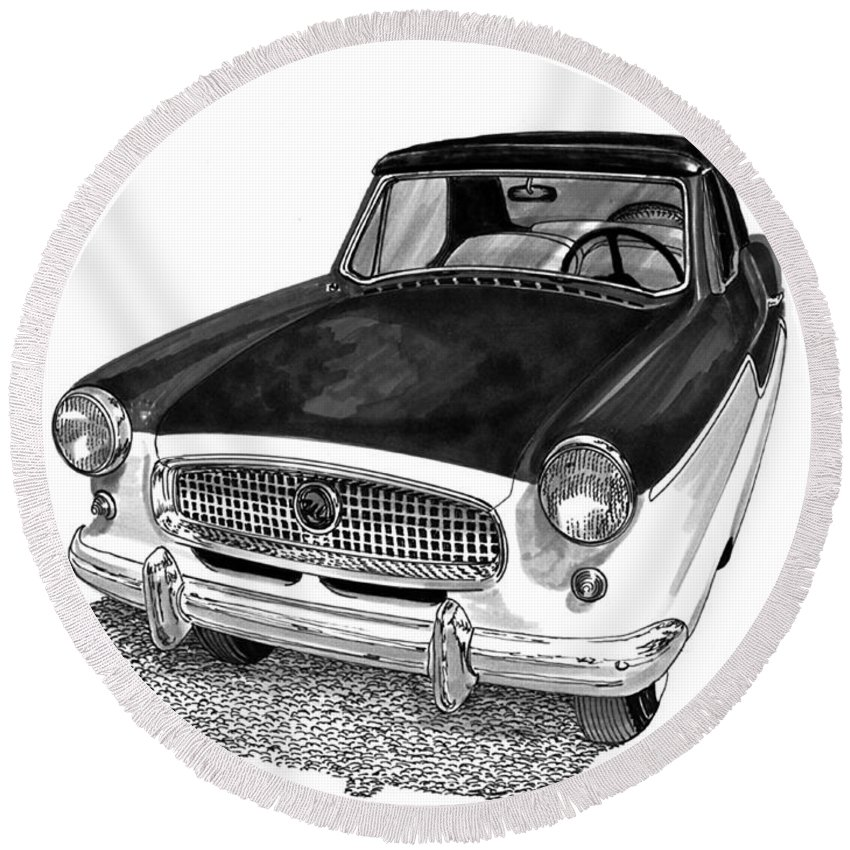 1961 Nash Metro In Black White Round Beach Towel featuring the painting 1961 Nash Metro In Black White by Jack Pumphrey