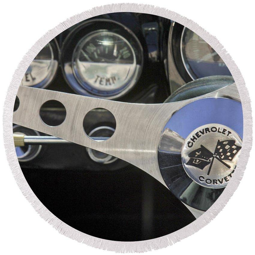 1962 Chevrolet Corvette Convertible Round Beach Towel featuring the photograph 1962 Chevrolet Corvette Convertible Steering Wheel by Jill Reger
