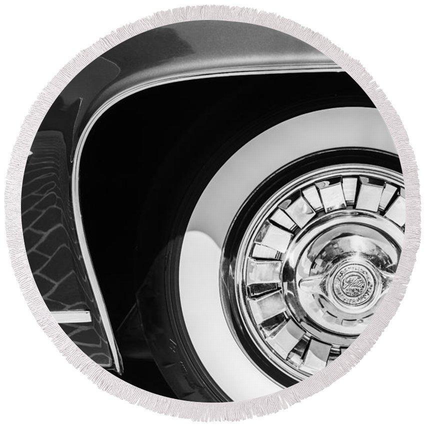 1962 Ghia L6.5 Coupe Wheel Emblem Round Beach Towel featuring the photograph 1962 Ghia L6.5 Coupe Wheel Emblem by Jill Reger
