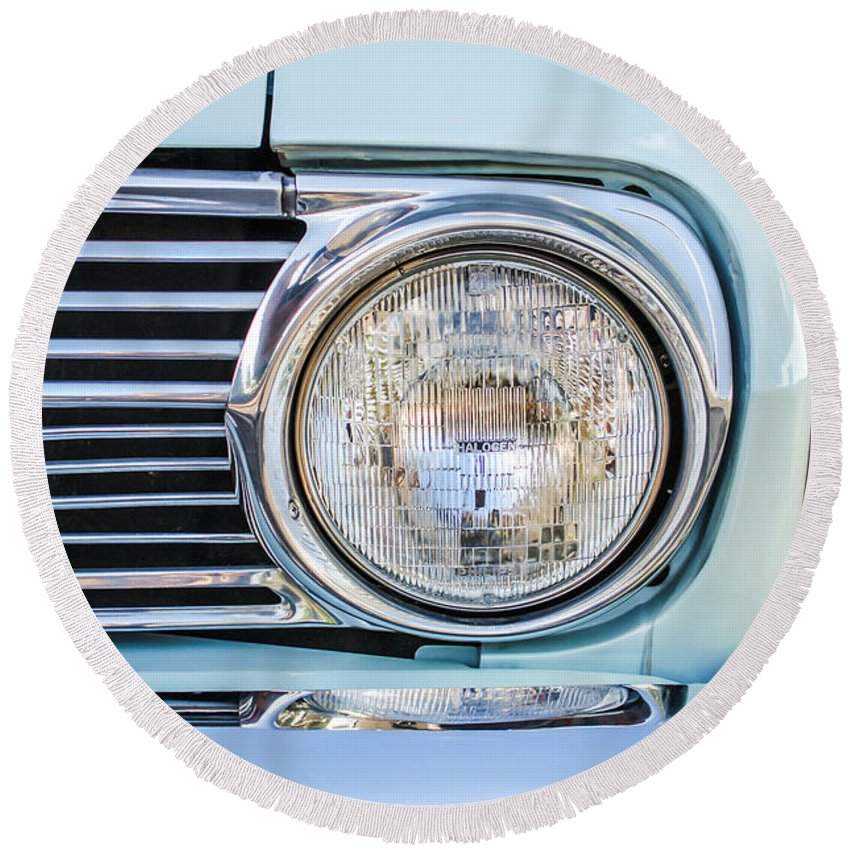 1963 Ford Falcon Futura Convertible Headlight Round Beach Towel featuring the photograph 1963 Ford Falcon Futura Convertible Headlight - Hood Ornament by Jill Reger