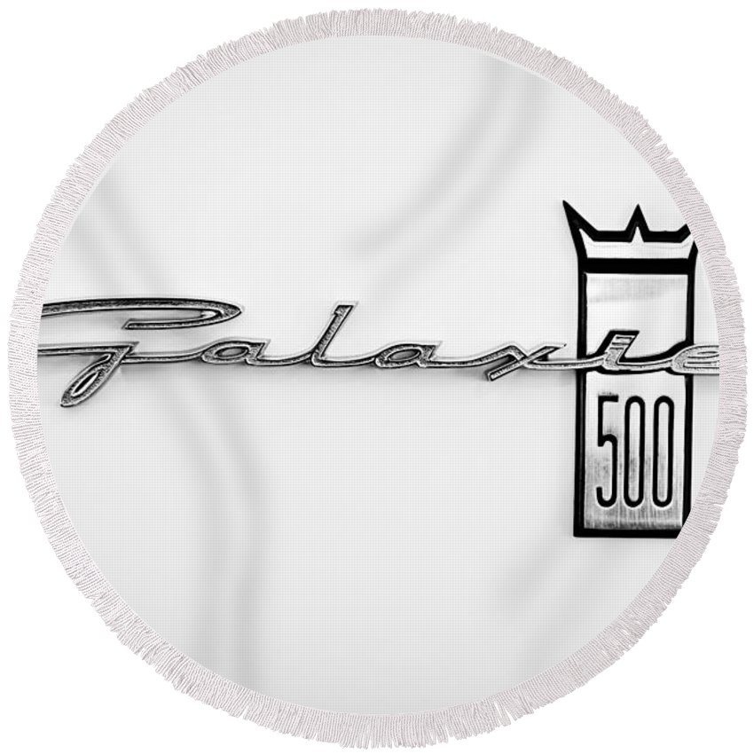 1963 Ford Galaxie 500 R-code Factory Lightweight Emblem Round Beach Towel featuring the photograph 1963 Ford Galaxie 500 R-code Factory Lightweight Emblem by Jill Reger