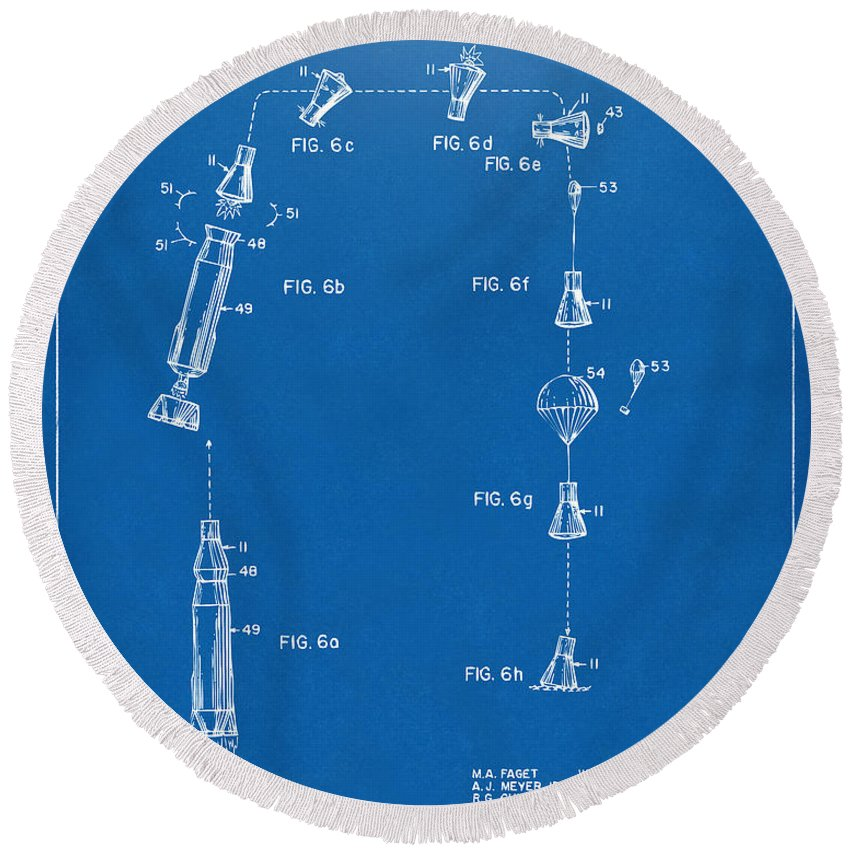 Space Capsule Round Beach Towel featuring the digital art 1963 Space Capsule Patent Blueprint by Nikki Marie Smith