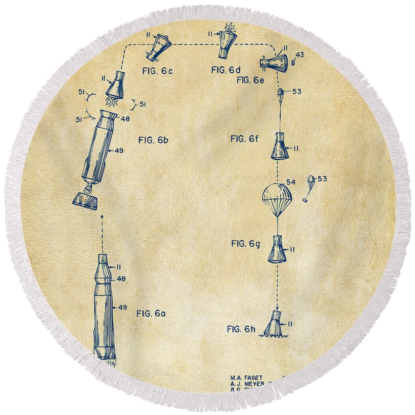 Space Capsule Round Beach Towel featuring the digital art 1963 Space Capsule Patent Vintage by Nikki Marie Smith
