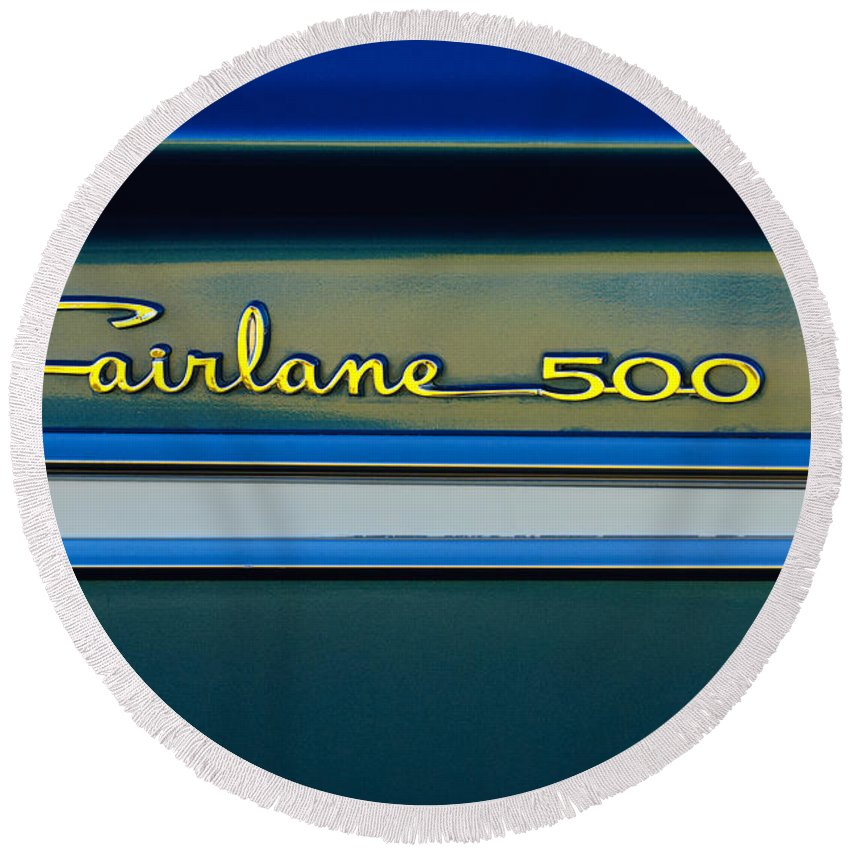 1964 Ford Fairlane 500 Emblem Round Beach Towel featuring the photograph 1964 Ford Fairlane 500 Emblem by Jill Reger