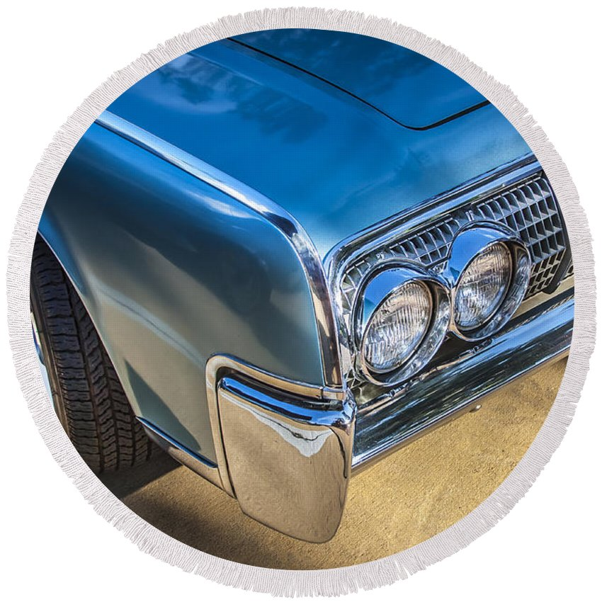 Lincoln Round Beach Towel featuring the photograph 1964 Lincoln Continental Convertible by Rich Franco
