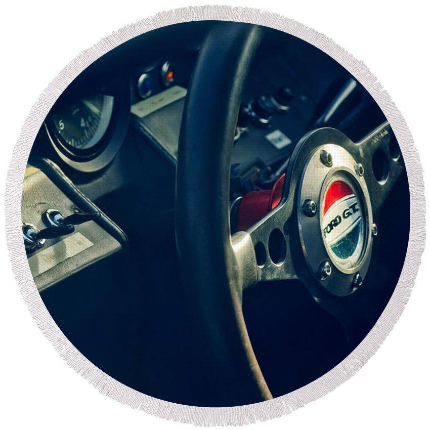 1965 Ford Gt 40 Steering Wheel Emblem Round Beach Towel featuring the photograph 1965 Ford Gt 40 Steering Wheel Emblem by Jill Reger