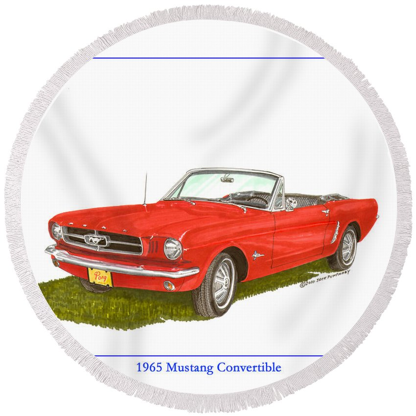 Jackscarart Round Beach Towel featuring the painting 1965 Ford Mustang Convertible Pony Car by Jack Pumphrey