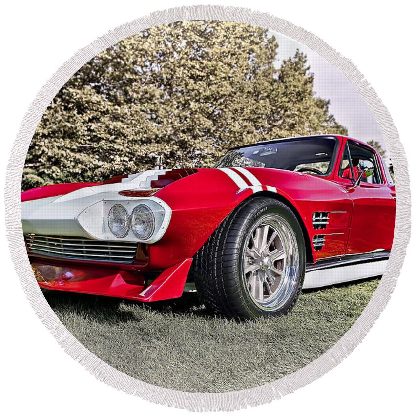 Transportation Round Beach Towel featuring the photograph 1965 Grand Sport Sebring by Marcia Colelli