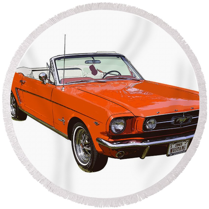 1965 Red Convertible Ford Mustang Classic Car Round Beach Towel