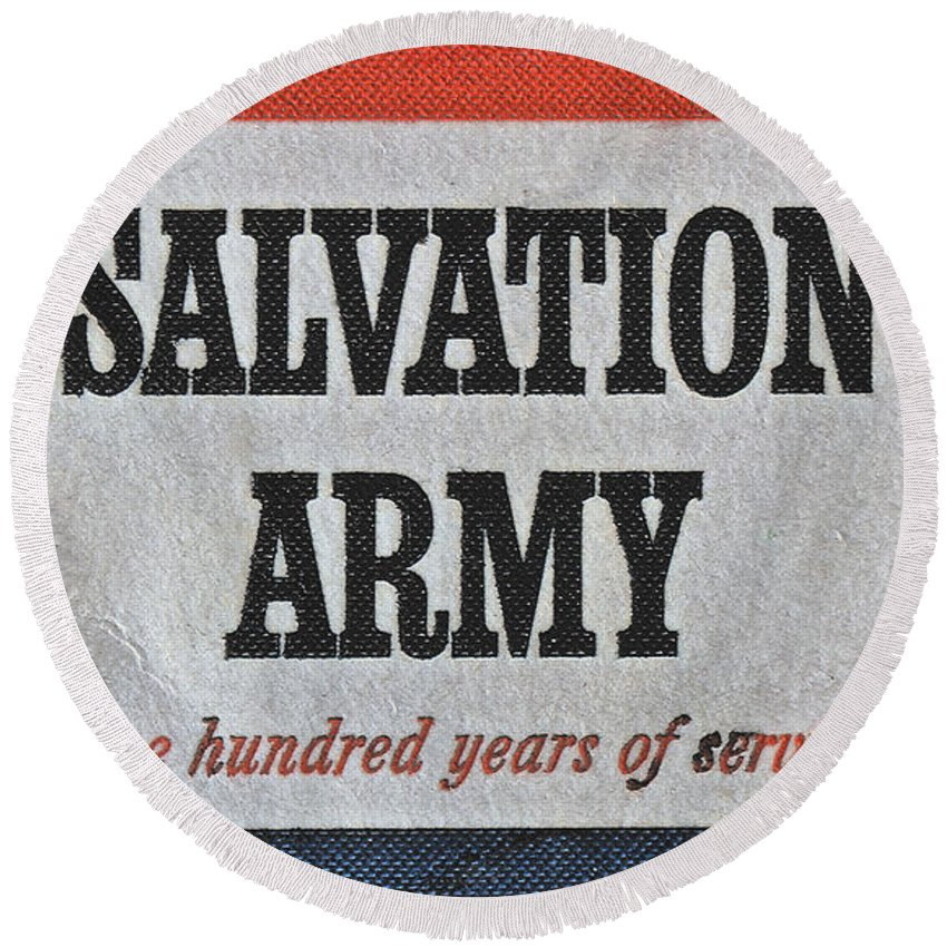1965 Round Beach Towel featuring the photograph 1965 Salvation Army Stamp by Bill Owen