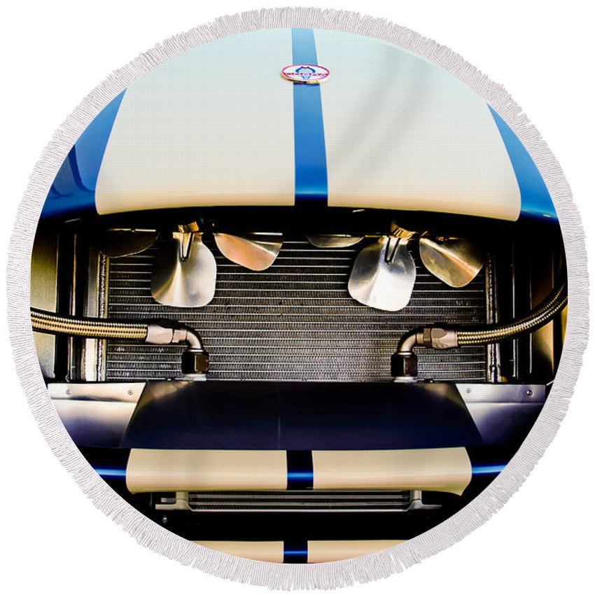 1965 Shelby Round Beach Towel featuring the photograph 1965 Shelby Cobra Grille by Jill Reger