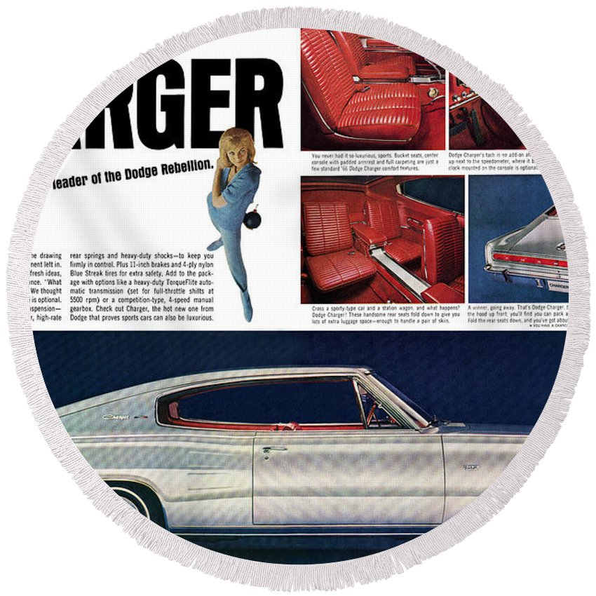 1966 Round Beach Towel featuring the digital art 1966 Dodge Charger - New Leader Of The Dodge Rebellion by Digital Repro Depot