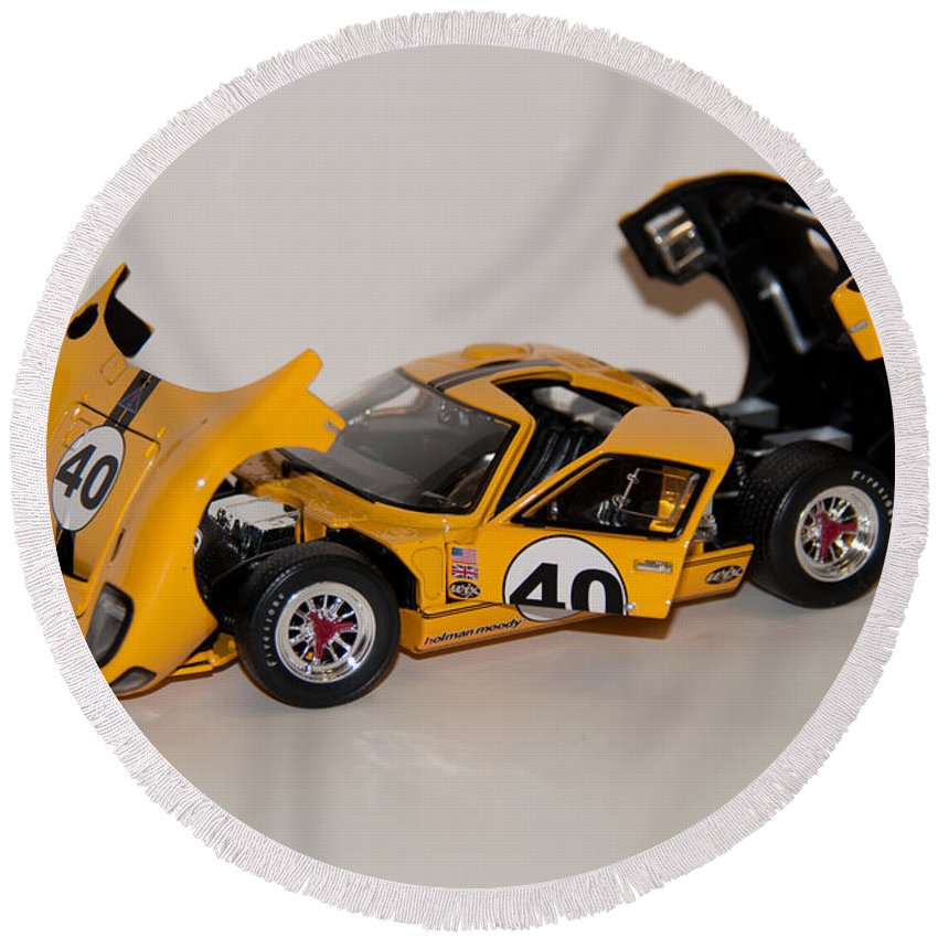 Ford Round Beach Towel featuring the photograph 1966 Ford Gt40 - Diecast by John Black