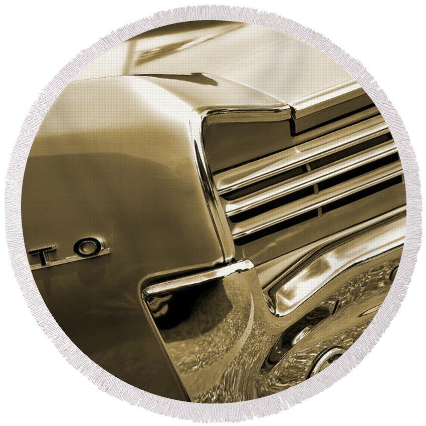 1966 Round Beach Towel featuring the digital art 1966 Pontiac Gto Tail In Sepia by Gordon Dean II