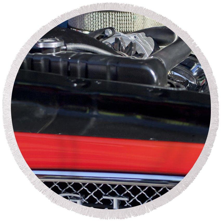 1967 Pontiac Gto Engine Emblem Round Beach Towel featuring the photograph 1967 Pontiac Gto Engine Emblem by Jill Reger