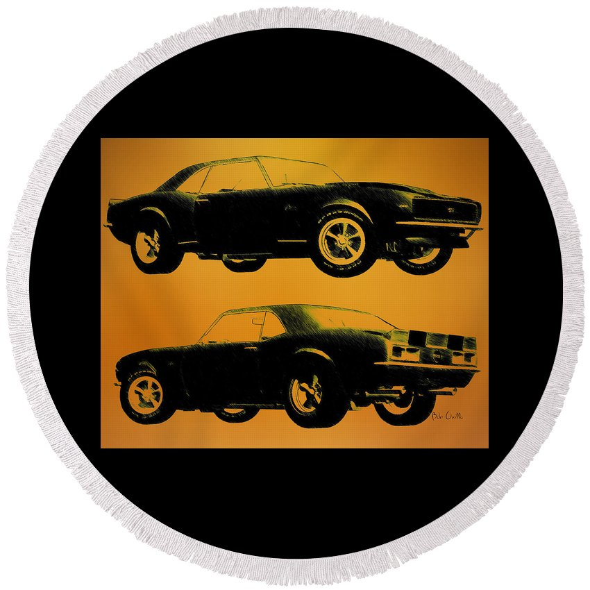 1968 Camaro Ss Round Beach Towel featuring the drawing 1968 Camaro Ss Side View by Bob Orsillo