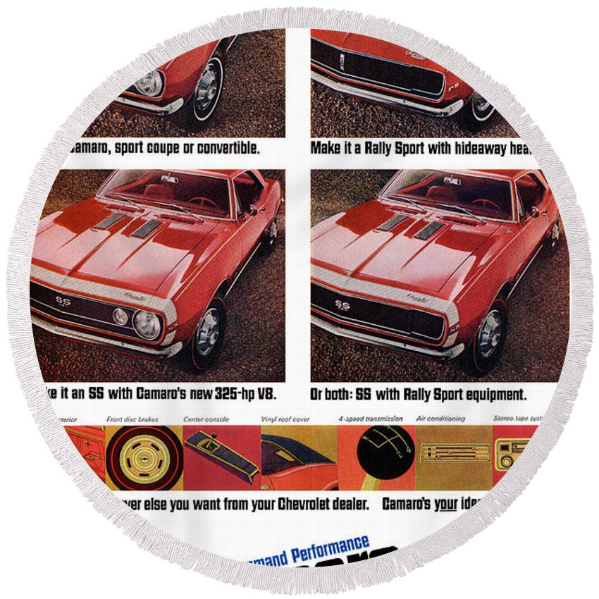 1968 Round Beach Towel featuring the digital art 1968 Chevy Camaro by Digital Repro Depot