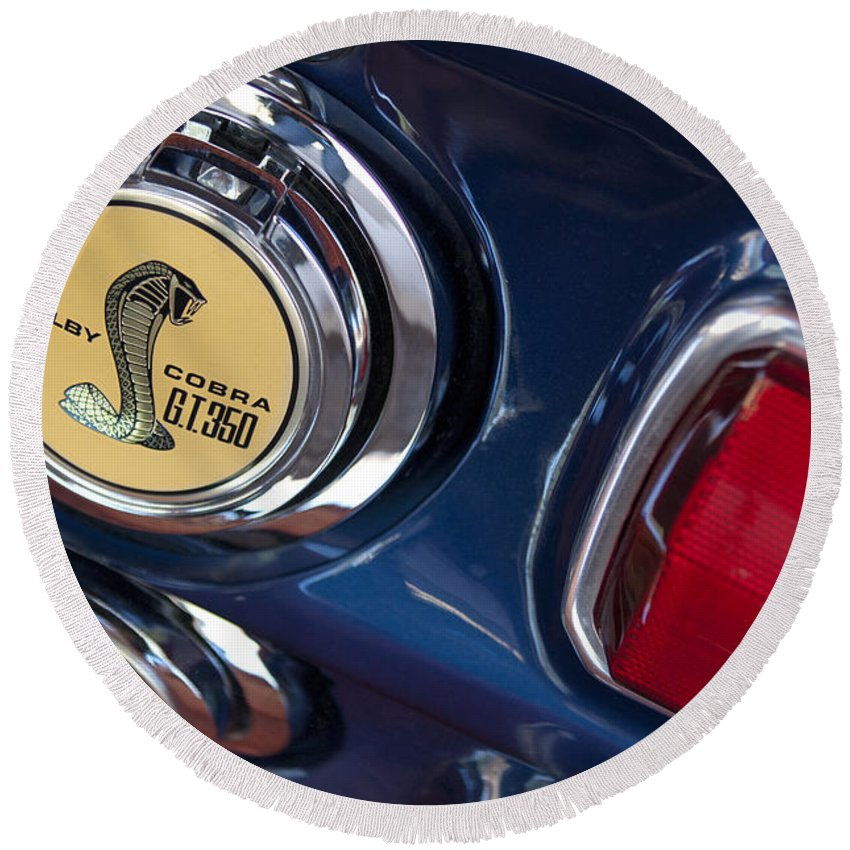 1968 Ford Mustang - Shelby Cobra Gt 350 Taillight And Gas Cap Round Beach Towel featuring the photograph 1968 Ford Mustang - Shelby Cobra Gt 350 Taillight And Gas Cap by Jill Reger