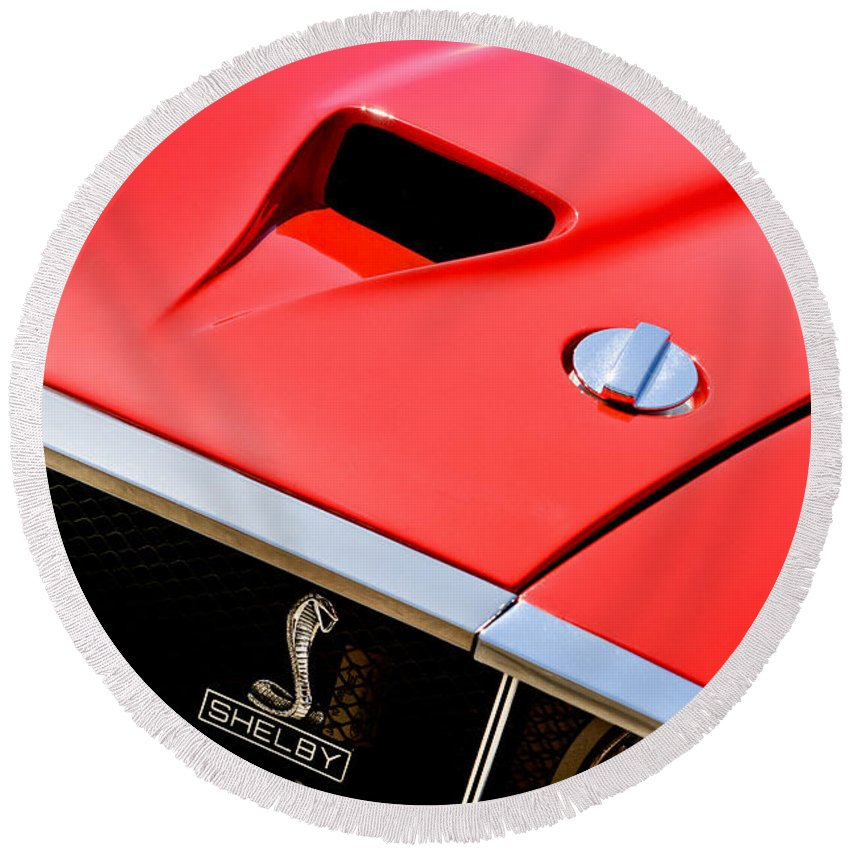 1969 Shelby Gt500 Convertible 428 Cobra Jet Hood - Grille Emblem Round Beach Towel featuring the photograph 1969 Shelby Gt500 Convertible 428 Cobra Jet Hood - Grille Emblem by Jill Reger