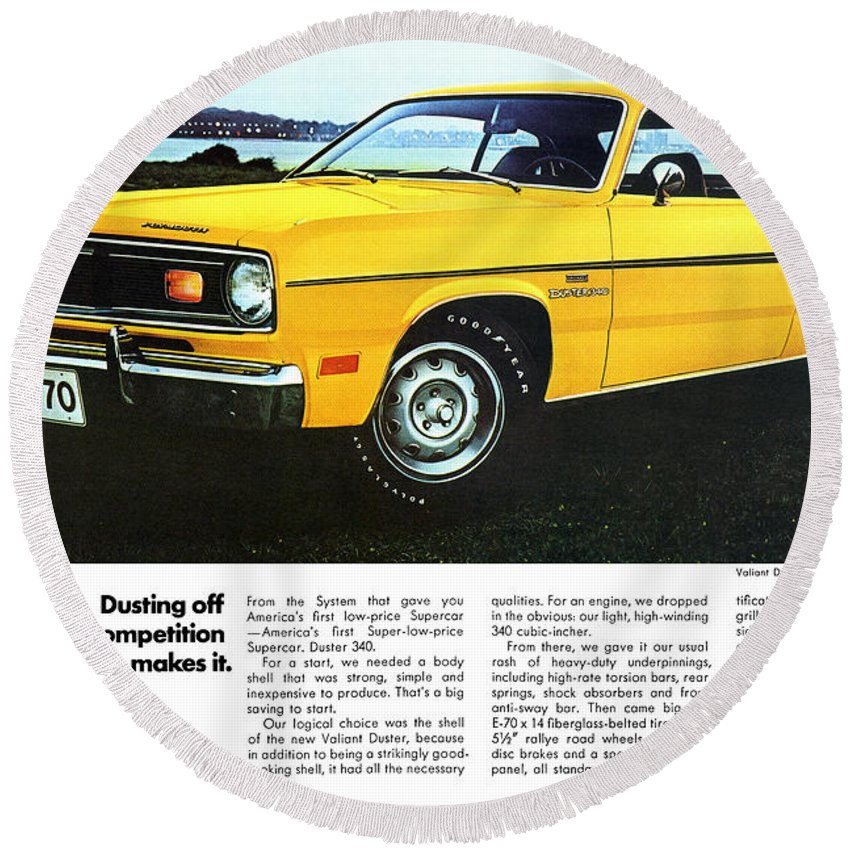 1970 Round Beach Towel featuring the digital art 1970 Plymouth Duster 340 by Digital Repro Depot