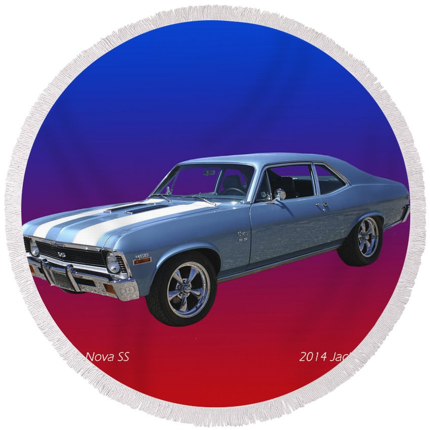 Photograph Of 1971 Chevy Nova Ss By Jacki Pumphrey Round Beach Towel featuring the photograph 1971 Chevy Nova S S by Jack Pumphrey