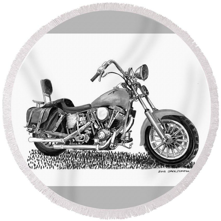 1971 Harley Davidson S O A Shovel Head F L Round Beach Towel