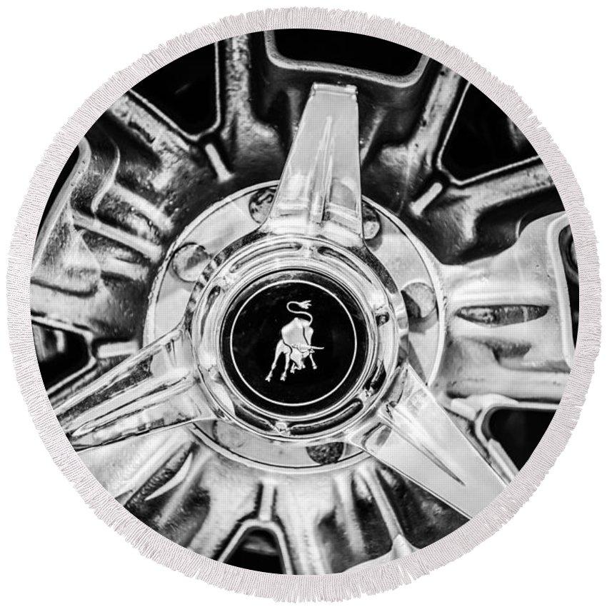 1971 Lamborghini Miura Sv Wheel Emblem 0982bw Round Beach Towel For