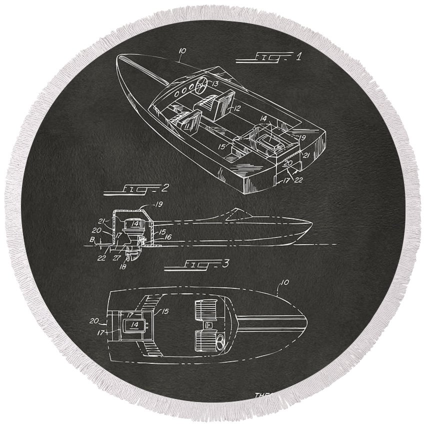 Chris Craft Round Beach Towel featuring the digital art 1972 Chris Craft Boat Patent Artwork - Gray by Nikki Marie Smith