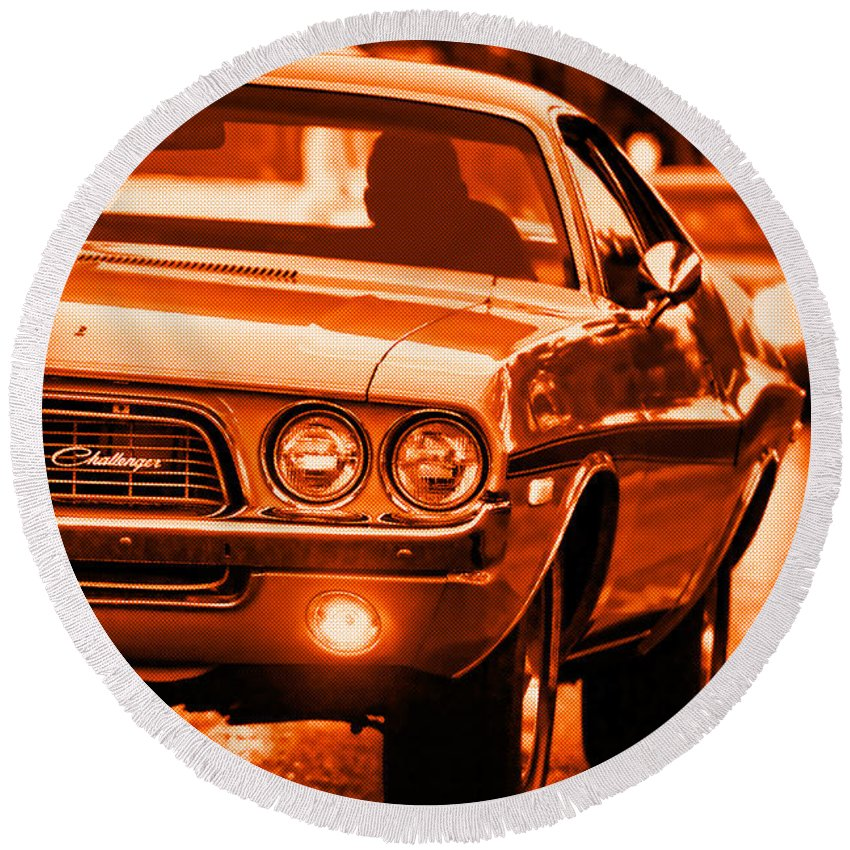 Round Beach Towel featuring the photograph 1972 Dodge Challenger In Orange by Gordon Dean II