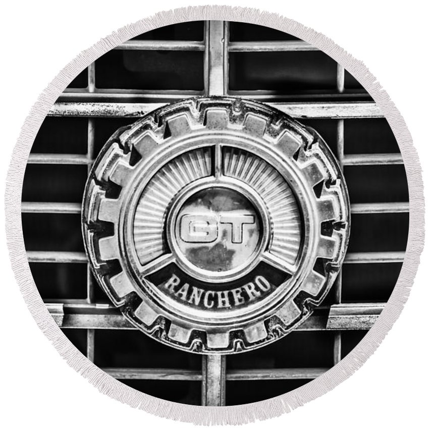 1973 Ford Ranchero Grille Emblem Round Beach Towel featuring the photograph 1973 Ford Ranchero Grille Emblem -0769bw by Jill Reger