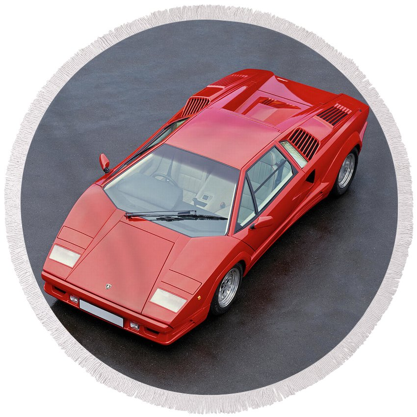 1990 Lamborghini Countach Qv Round Beach Towel For Sale By Panoramic