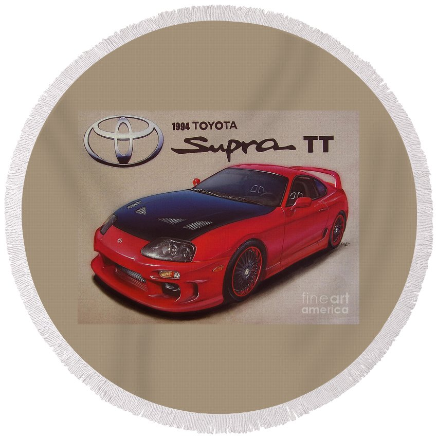 1994 Toyota Supra Round Beach Towel