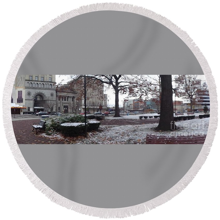Cityscape Round Beach Towel featuring the photograph 1st Snow Public Square by Christina Verdgeline