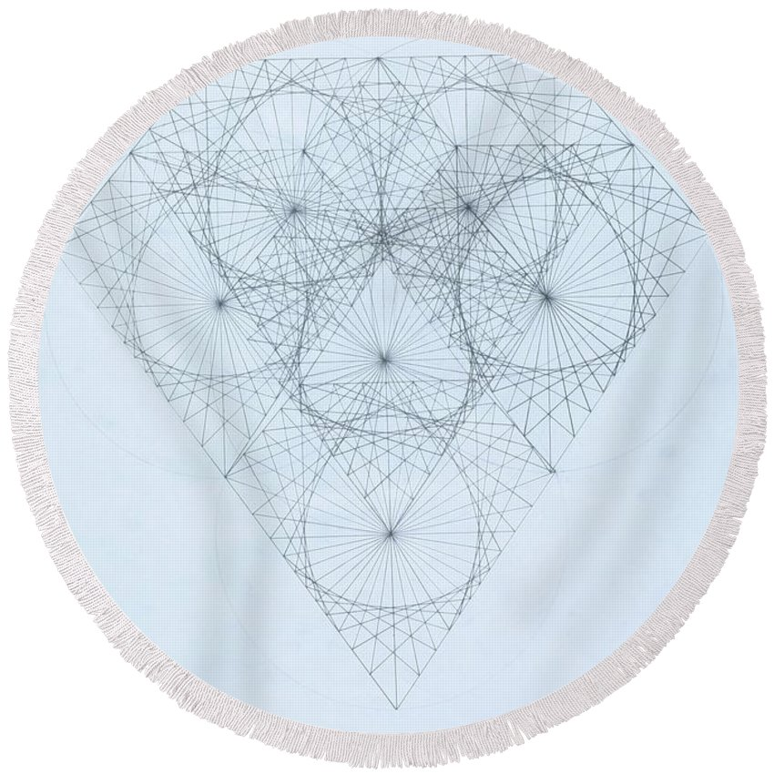 Jason Padgett Round Beach Towel featuring the drawing Diamond Quanta by Jason Padgett