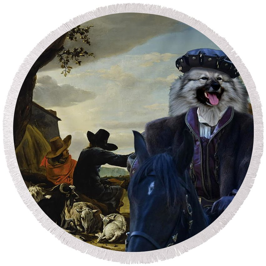 Keeshond Round Beach Towel featuring the painting Keeshond Art Canvas Print by Sandra Sij