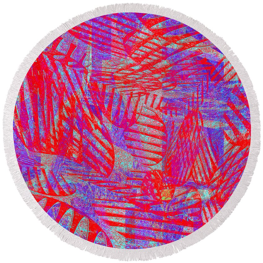 Abstract Round Beach Towel featuring the digital art 0218 Abstract Thought by Chowdary V Arikatla