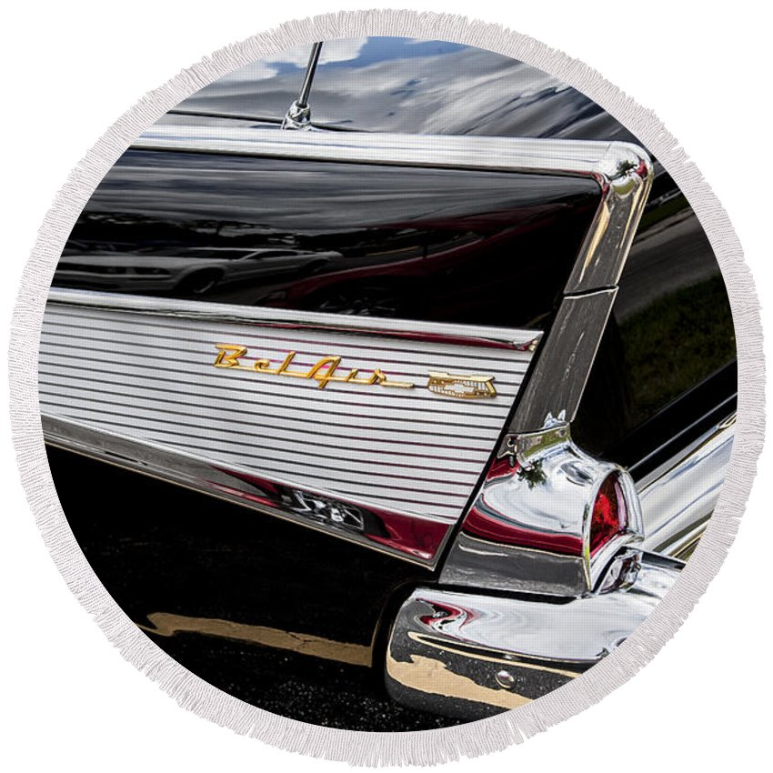 V8 Engine Round Beach Towel featuring the photograph 1957 Chevrolet Bel Air 2 by Rich Franco