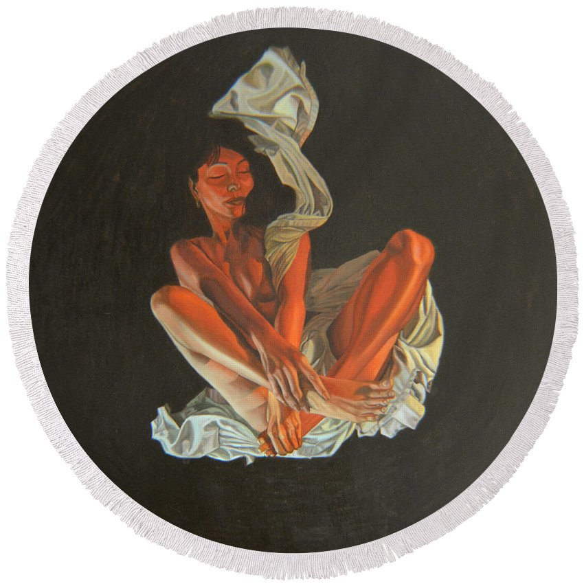 Semi-nude Round Beach Towel featuring the painting 2 30 Am by Thu Nguyen