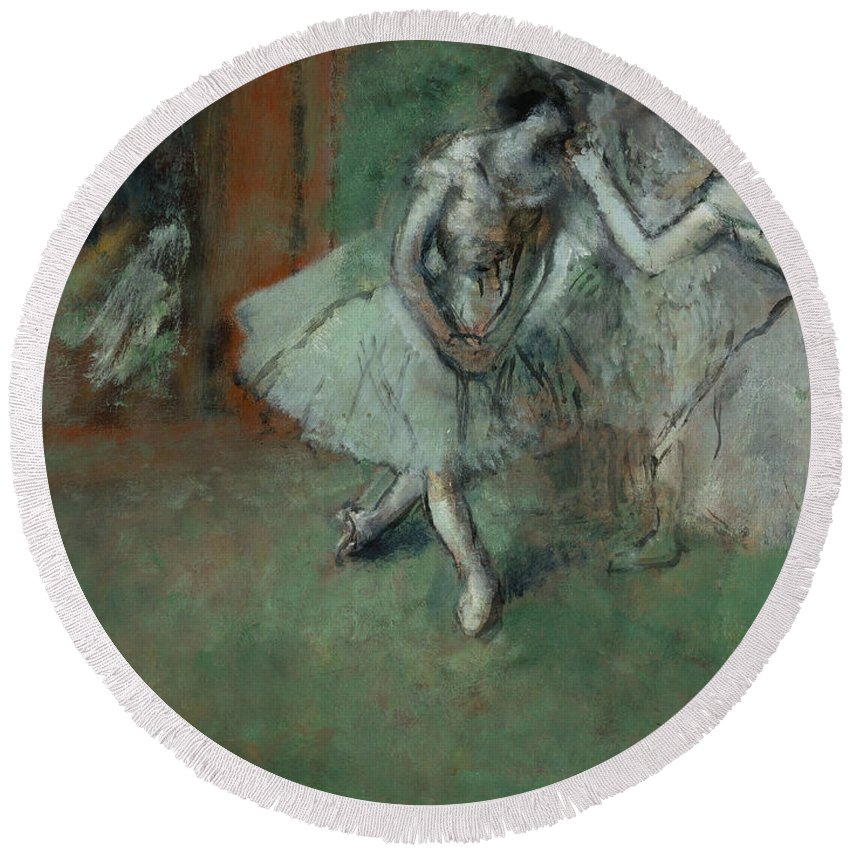 Edgar Degas Round Beach Towel featuring the painting A Group Of Dancers by Edgar Degas