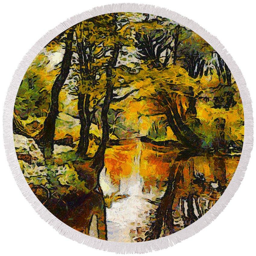 Peder Mork Monsted Round Beach Towel featuring the digital art A River Landscape In Springtime by Peder Mork Monsted