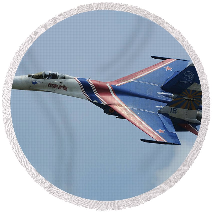 Horizontal Round Beach Towel featuring the photograph A Sukhoi Su-27 Flanker Of The Russian by Remo Guidi
